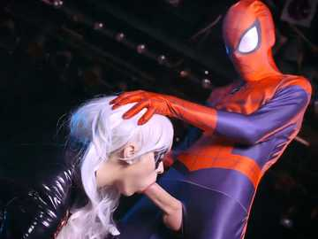 Mila Milan as Black Cat cooperates with Spidey for pussy fucking in uniform