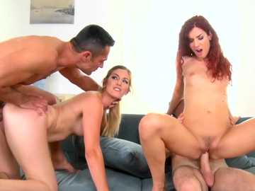 Redhead and brunette Eurobabe Shona River and Mira Sunset have group sex