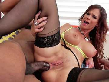 Lusty mature woman Syren De Mer gets her ass broken by the huge black cock of Dredd
