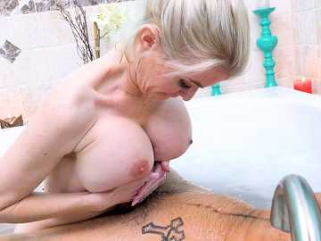 Voluptuous stepmom Katie Monroe realizes sex dreams of her young stepson