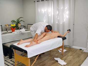Skye Blue has come to massage parlor not for back rubbing but a blowjob