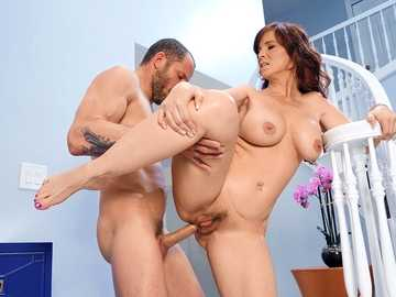 Naughty red-haired MILF Syren De Mer gets her anus and twat nailed by a male