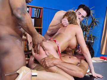 Superb chick Britney Amber gets her holes penetrate by the group of hungry dudes