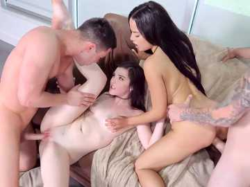 Teen Jenna Reid and Maya Bijou exchange boyfriends in real group sex scene