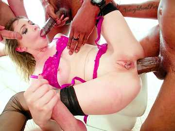 Insane anal gangbang with petite blonde Angel Smalls gets truly interracial